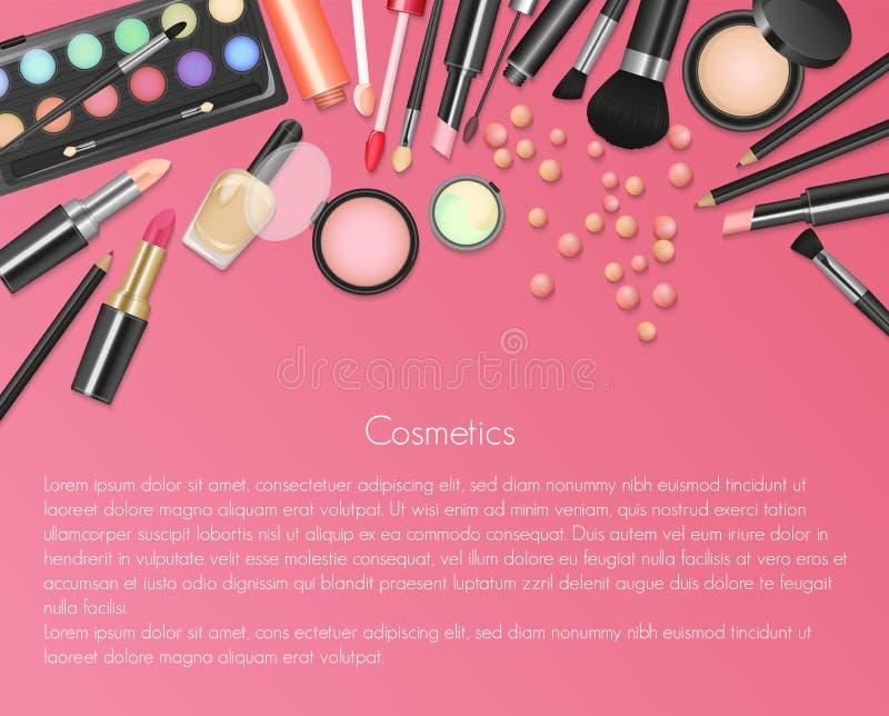 Καλλυντικά Makeup ομορφιάς με τα καλλυντικά εργαλεία Ζωηρόχρωμο υπόβαθρο καλλυντικών, βούρτσες και άλλα προϊόντα πρώτης ανάγκης απεικόνιση αποθεμάτων