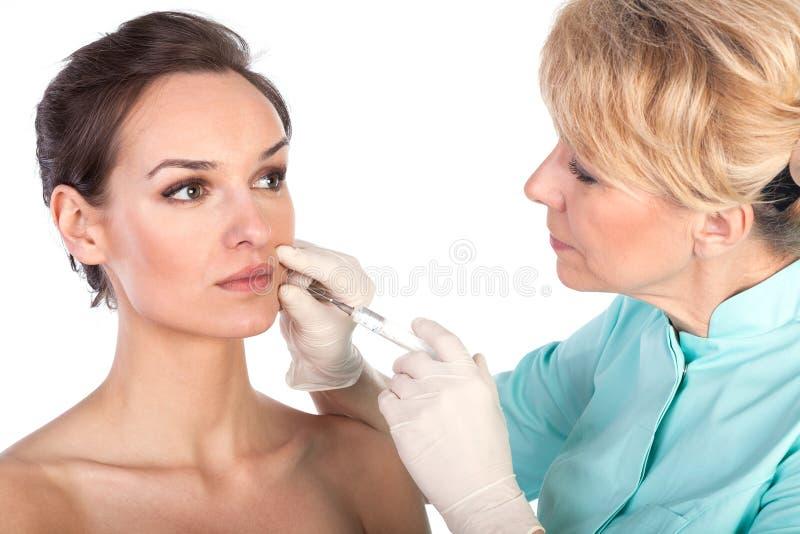 Καλλυντική έγχυση botox στο θηλυκό πρόσωπο στοκ φωτογραφία με δικαίωμα ελεύθερης χρήσης