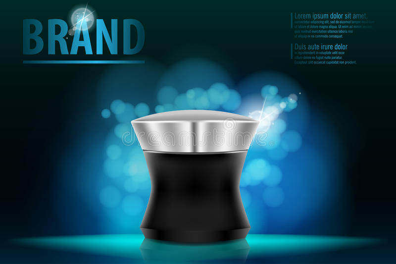 Καλλυντική έννοια σχεδίου συσκευασίας προϊόντων για το εμπορικό σήμα ασφαλίστρου στο σκούρο μπλε bokeh απεικόνιση αποθεμάτων