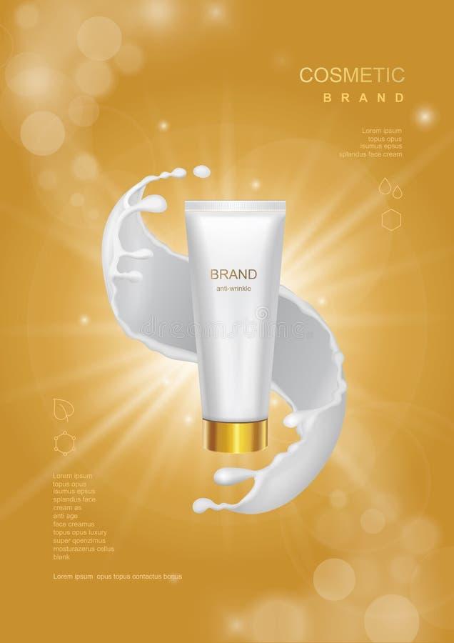 Καλλυντική αφίσα προϊόντων, σχέδιο συσκευασίας μπουκαλιών σωλήνων με την κρέμα moisturizer ή γάλα προσώπου σε ένα χρυσό λαμπιρίζο ελεύθερη απεικόνιση δικαιώματος