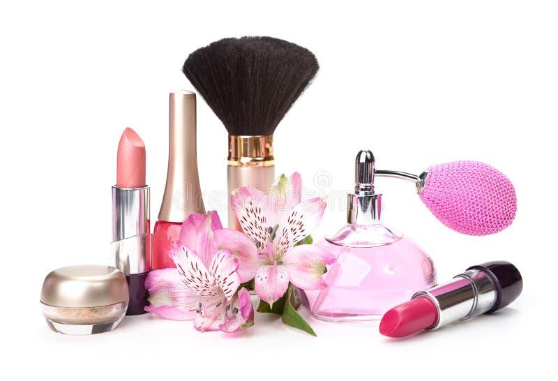 Καλλυντικό και λουλούδι στοκ εικόνα με δικαίωμα ελεύθερης χρήσης