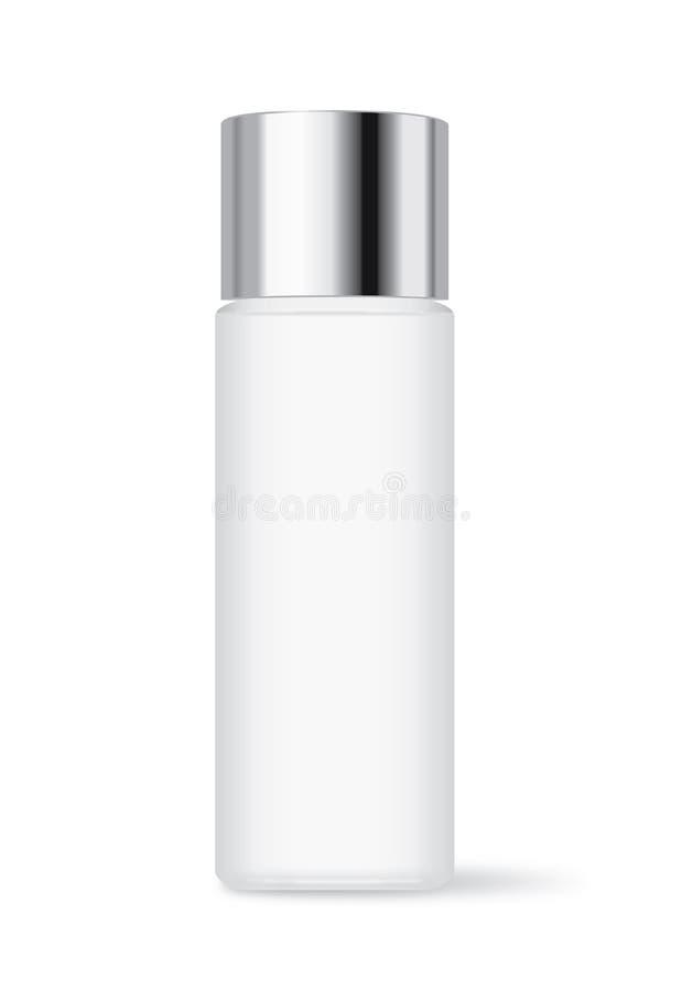 Καλλυντικό μπουκάλι με την ασημένια ΚΑΠ ελεύθερη απεικόνιση δικαιώματος