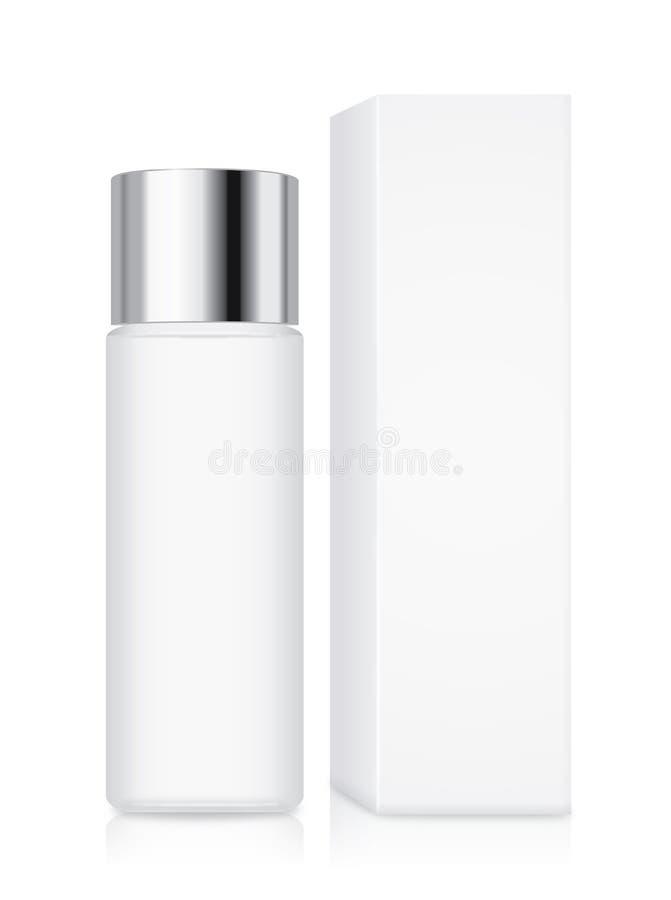 Καλλυντικό μπουκάλι με την ασημένια ΚΑΠ διανυσματική απεικόνιση