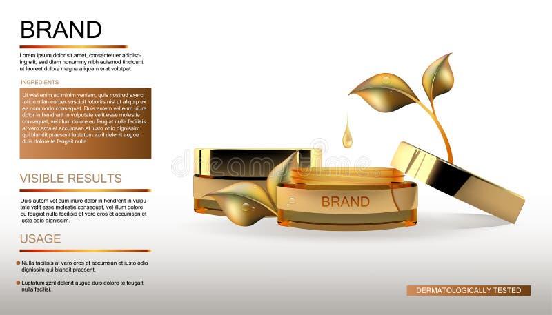 Καλλυντικό μπουκάλι προϊόντων ομορφιάς με την πτώση Χρυσή συσκευασία μπουκαλιών, του προσώπου καλλυντική κρέμα φροντίδας δέρματος ελεύθερη απεικόνιση δικαιώματος