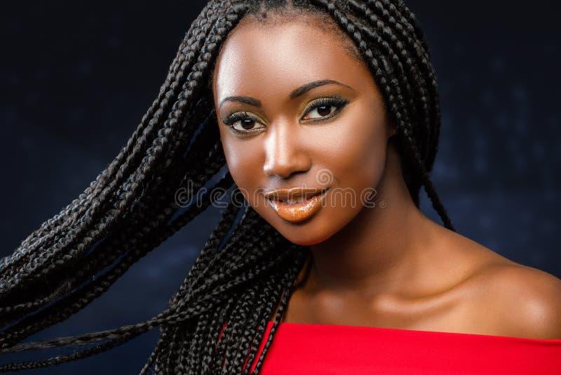Καλλυντικό πορτρέτο ομορφιάς του νέου αφρικανικού κοριτσιού με τις πλεξούδες στοκ φωτογραφία