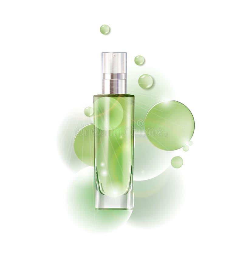 Καλλυντικό προϊόν, λοσιόν, φυτικό έλαιο, φυσικά καλλυντικά Όμορφο μπουκάλι με με το διάνυσμα πτώσεων απεικόνιση αποθεμάτων