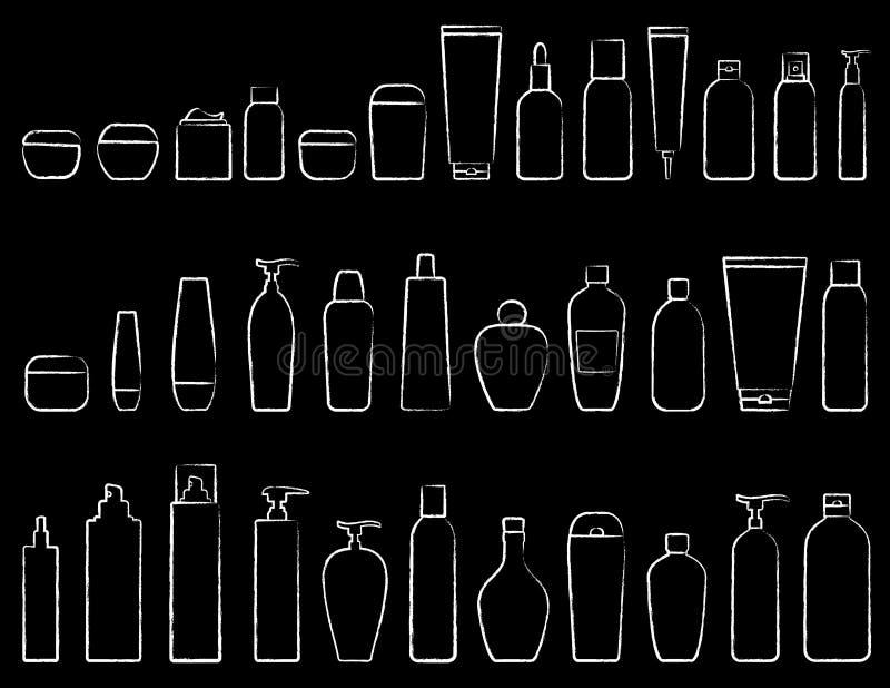 Καλλυντικό σύνολο εικονιδίων κιμωλίας διανυσματική απεικόνιση