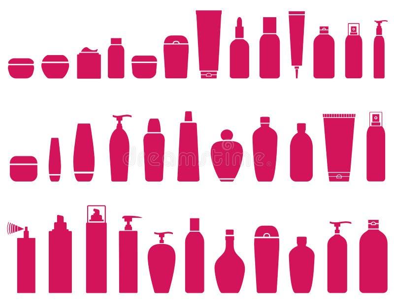 Καλλυντικό σύνολο μπουκαλιών ομορφιάς ελεύθερη απεικόνιση δικαιώματος
