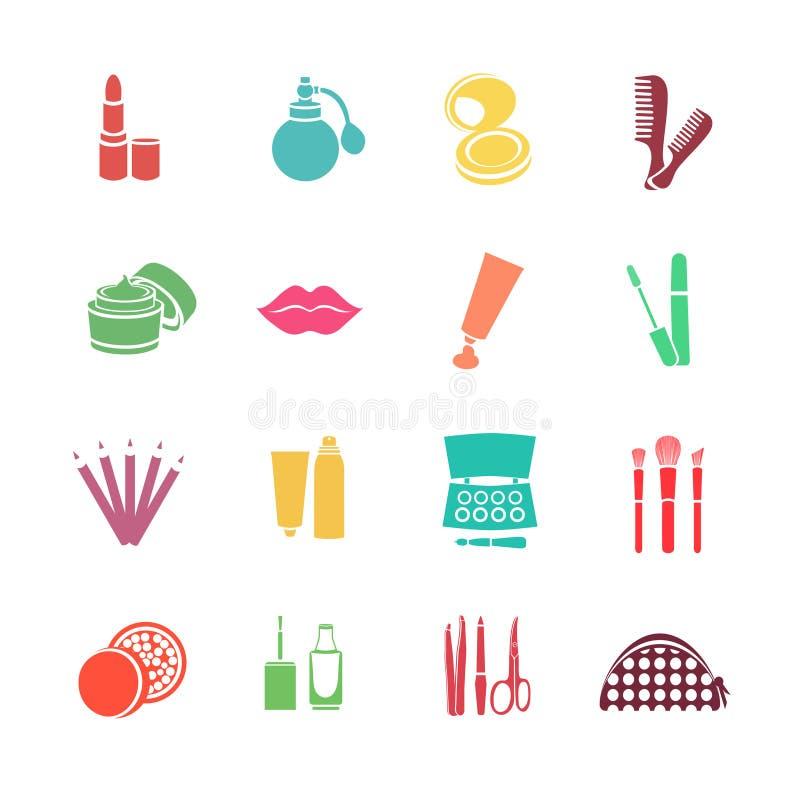 Καλλυντικών διανυσματικά εικονίδια Ιστού συνόλου επίπεδα Πολύχρωμος με τα καλλυντικά προϊόντα απεικόνιση αποθεμάτων