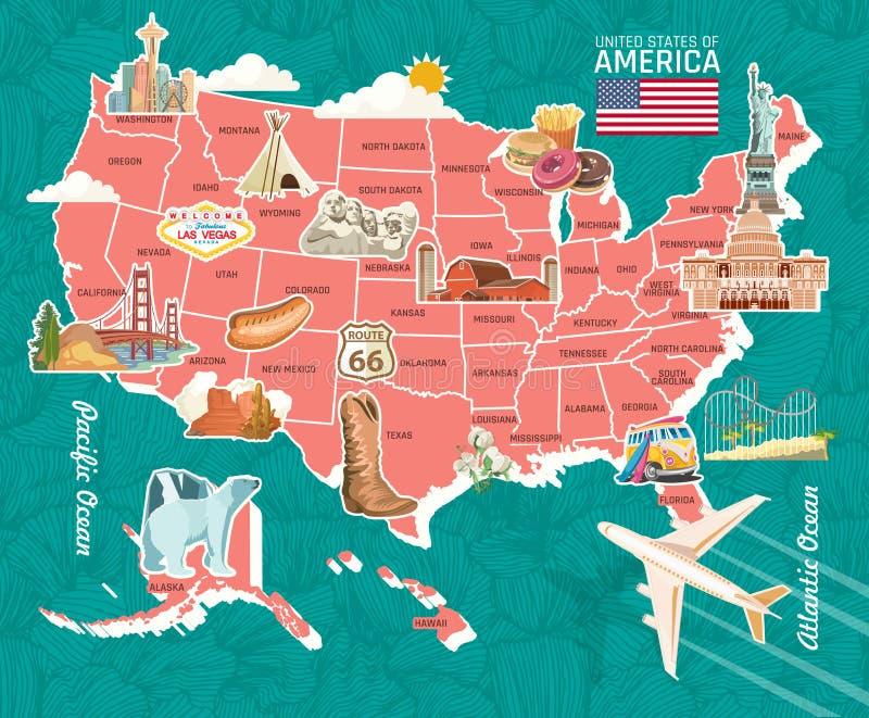 Καλωσορίστε λεπτομερή στην οι ΗΠΑ κάρτα Αφίσα των Ηνωμένων Πολιτειών της Αμερικής με το άγαλμα της ελευθερίας διανυσματική απεικόνιση