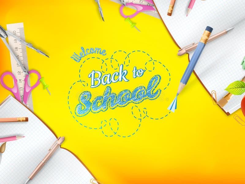 Καλωσορίστε πίσω στη σχολική ευχετήρια κάρτα 10 eps ελεύθερη απεικόνιση δικαιώματος