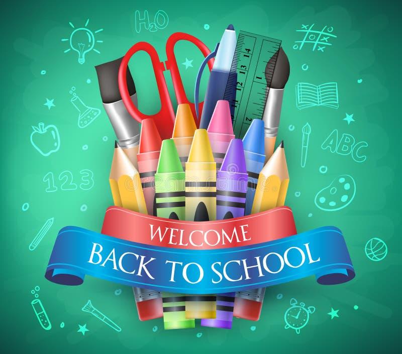 Καλωσορίστε πίσω στο σχολείο με την κορδέλλα, κραγιόνια και σχολικά στοιχεία ελεύθερη απεικόνιση δικαιώματος