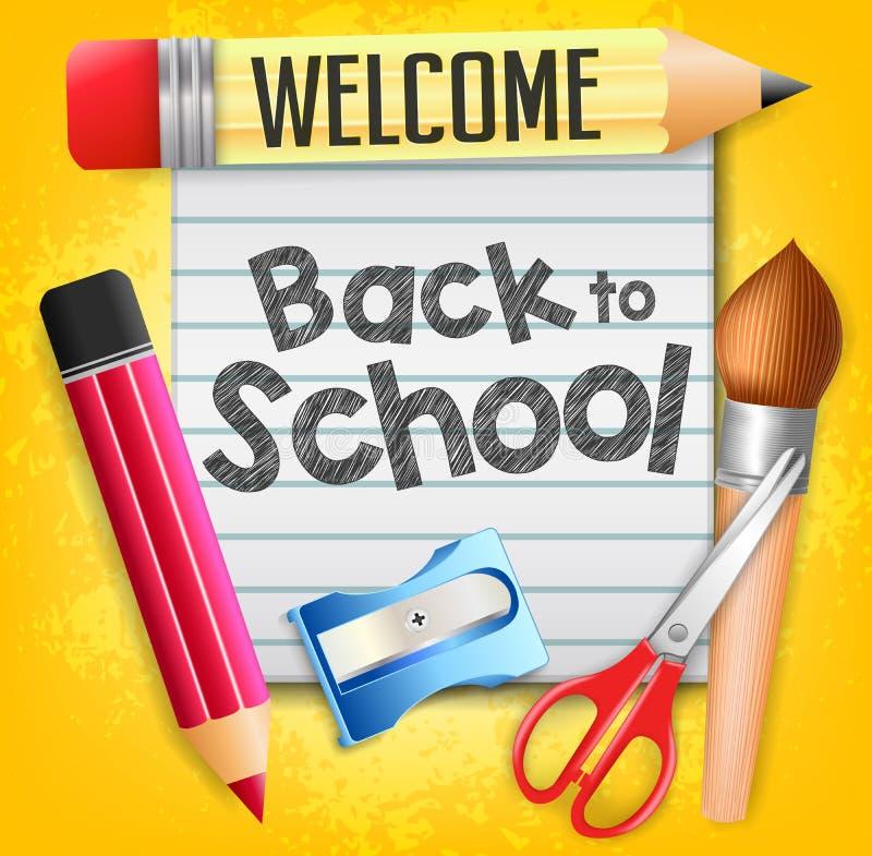 Καλωσορίστε πίσω στο σχολείο με τις σχολικές προμήθειες και ένα κομμάτι χαρτί διανυσματική απεικόνιση