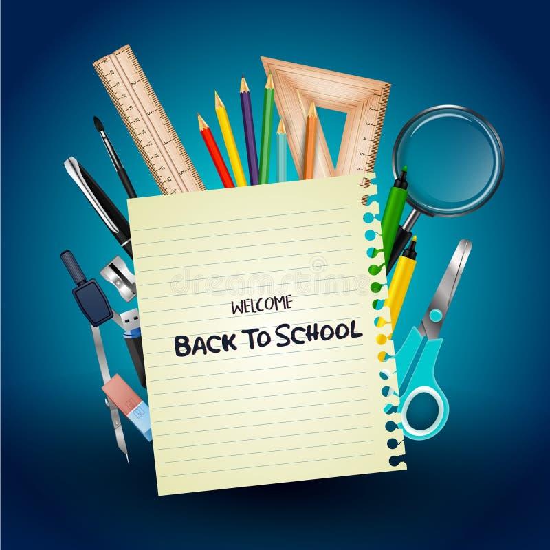 Καλωσορίστε πίσω στο σχολείο με τις σχολικές προμήθειες και το έγγραφο σημειωματάριων διανυσματική απεικόνιση
