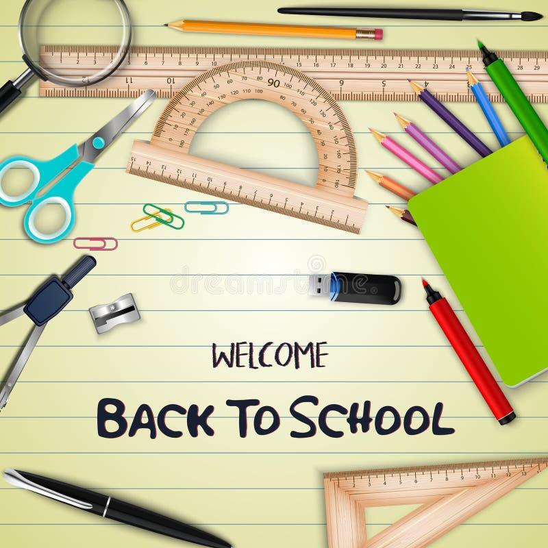Καλωσορίστε πίσω στο σχολείο με τις σχολικές προμήθειες σε χαρτί σημειωματάριων ελεύθερη απεικόνιση δικαιώματος
