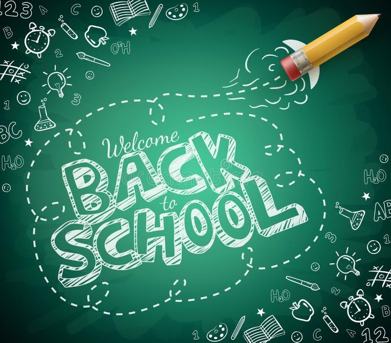 Καλωσορίστε πίσω στο σχολικό σχέδιο στο πράσινο υπόβαθρο πινάκων κιμωλίας απεικόνιση αποθεμάτων