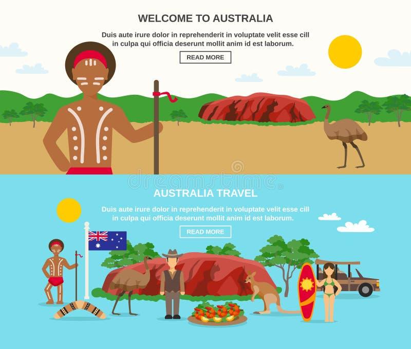 Καλωσορίστε στα εμβλήματα της Αυστραλίας διανυσματική απεικόνιση