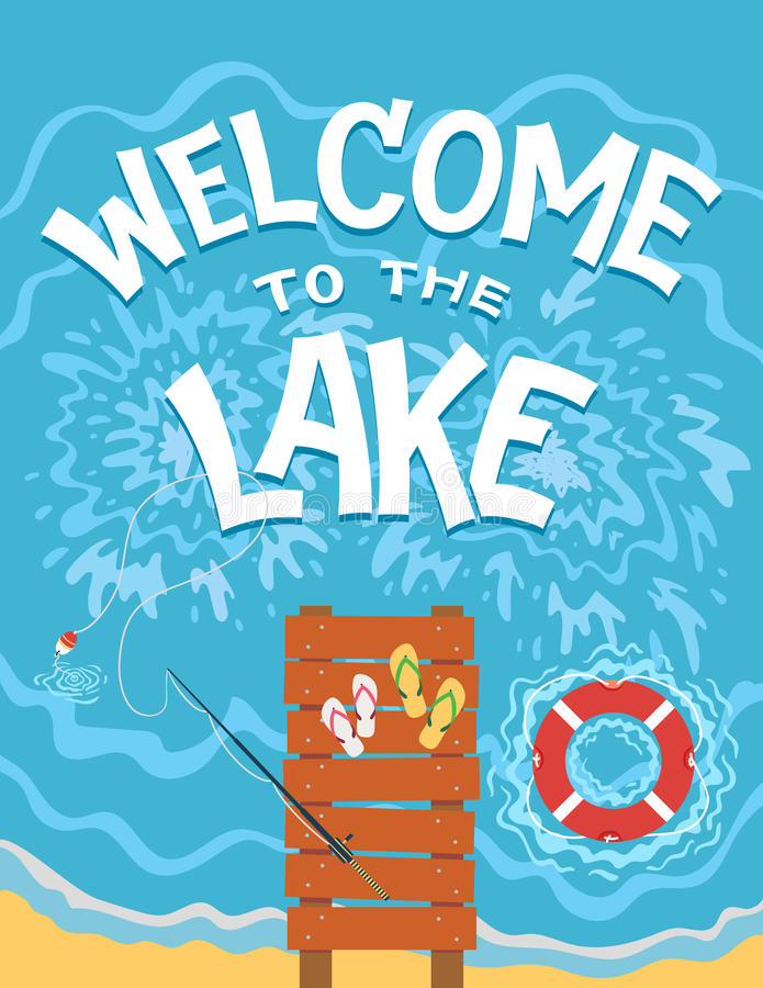 Καλωσορίστε στην απεικόνιση τυπογραφίας λιμνών ελεύθερη απεικόνιση δικαιώματος