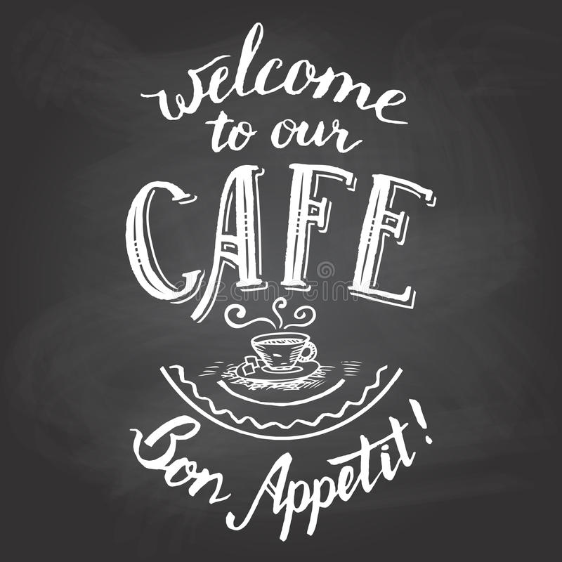 Καλωσορίστε στον πίνακα κιμωλίας καφέδων μας εκτυπώσιμο διανυσματική απεικόνιση