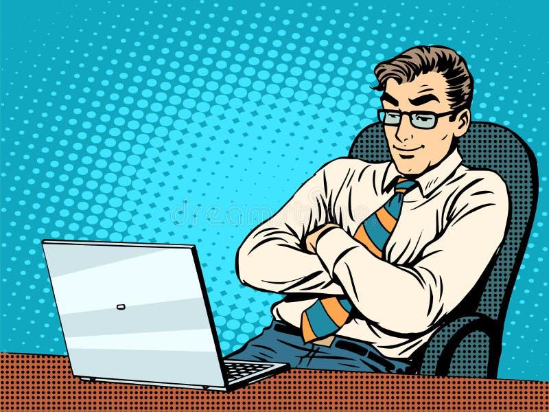 Καλός επιχειρηματίας στο lap-top ελεύθερη απεικόνιση δικαιώματος