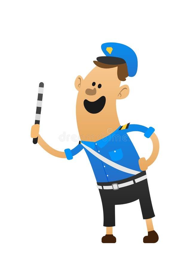 Καλό εύθυμο χαμόγελο αστυνομικών και ένα μπαστούνι ελεύθερη απεικόνιση δικαιώματος