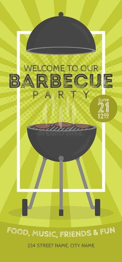 Καλό διανυσματικό πρότυπο σχεδίου πρόσκλησης κομμάτων σχαρών Καθιερώνον τη μόδα BBQ cookout σχέδιο αφισών απεικόνιση αποθεμάτων