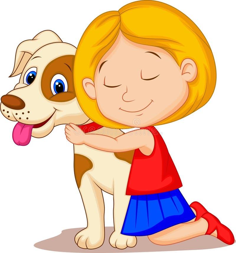 Καλό μικρό κορίτσι κινούμενων σχεδίων που αγκαλιάζει το σκυλί κατοικίδιων ζώων με το πάθος διανυσματική απεικόνιση