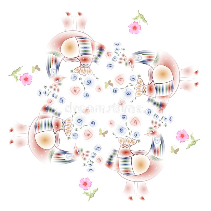 Καλό τραπεζομάντιλο Τυπωμένη ύλη Bandana με τα πουλιά νεράιδων και τα ρόδινα λουλούδια ελεύθερη απεικόνιση δικαιώματος