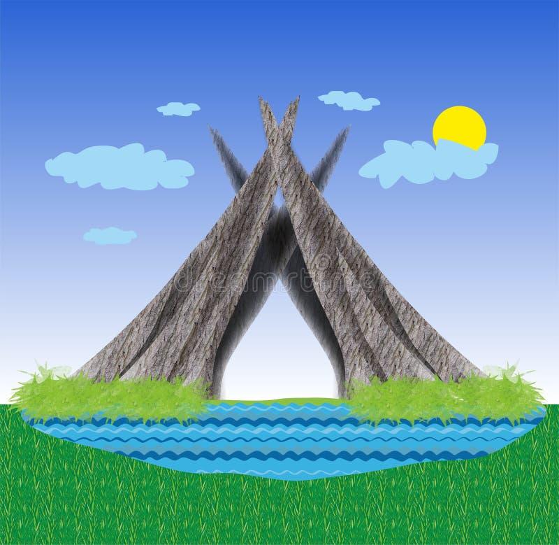 Καλύβα στην τράπεζα της λίμνης ελεύθερη απεικόνιση δικαιώματος