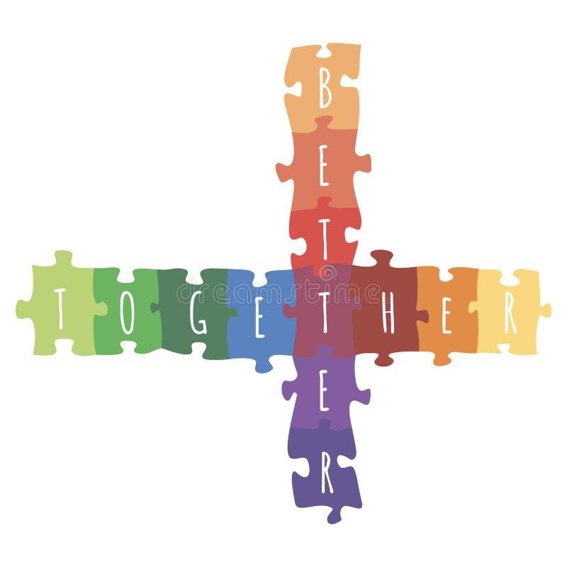 Καλύτερα μαζί logotype σχέδιο φιαγμένο από διανυσματική ζωηρόχρωμη απεικόνιση γρίφων ελεύθερη απεικόνιση δικαιώματος