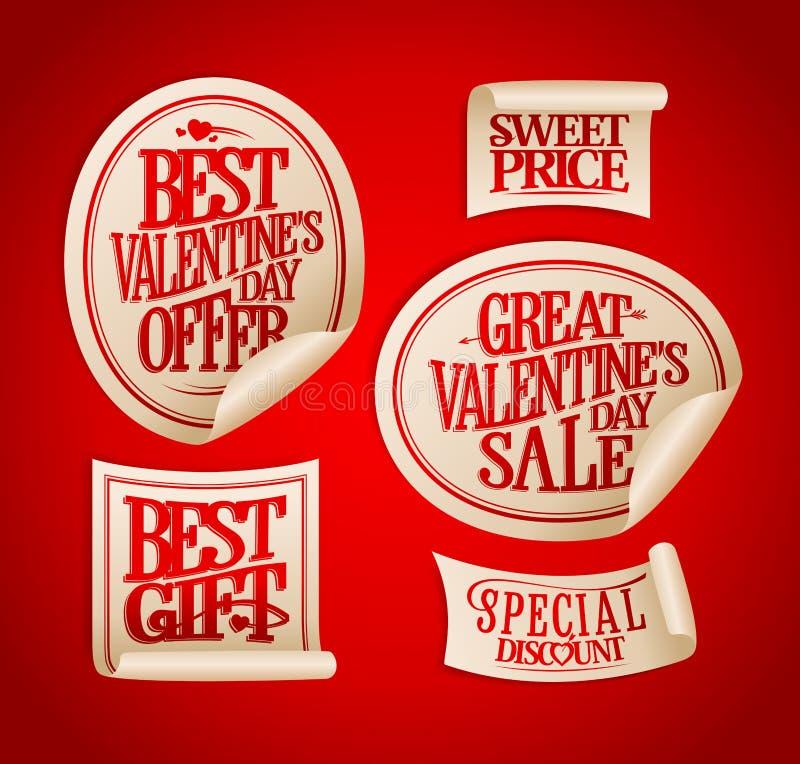 Καλύτερες αυτοκόλλητες ετικέττες πώλησης ημέρας βαλεντίνων ` s καθορισμένες ελεύθερη απεικόνιση δικαιώματος