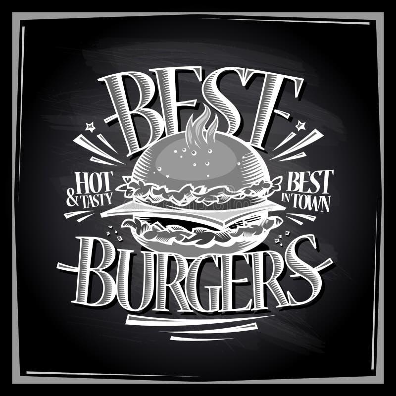 Καλύτερες καυτές και νόστιμες επιλογές πινάκων κιμωλίας burgers διανυσματική απεικόνιση