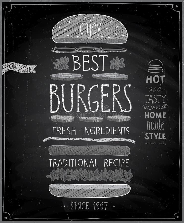 Καλύτερη αφίσα Burgers - ύφος πινάκων κιμωλίας απεικόνιση αποθεμάτων