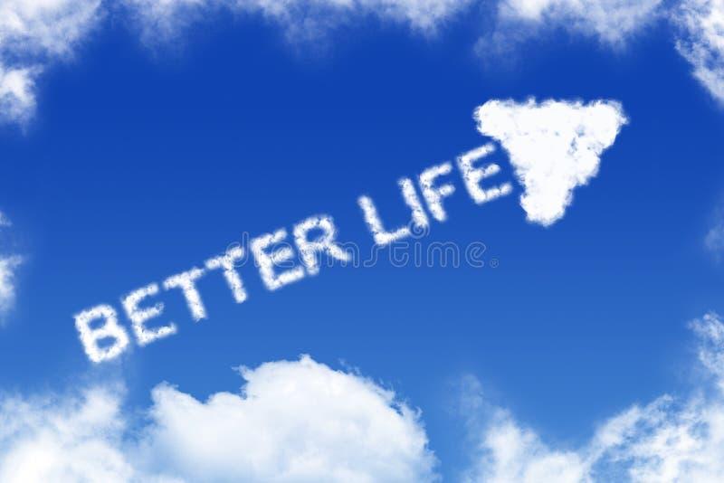 Καλύτερη ζωή - κείμενο σύννεφων απεικόνιση αποθεμάτων