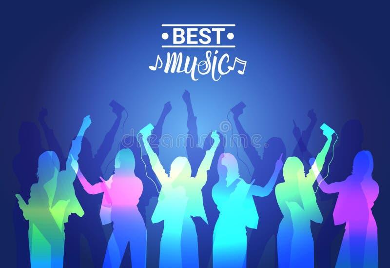 Καλύτερη μουσικής σκιαγραφιών ζωηρόχρωμη μουσική αφίσα εμβλημάτων συναυλίας ανθρώπων χορεύοντας ζωντανή διανυσματική απεικόνιση