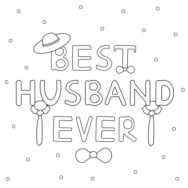 Καλύτερος σύζυγος πάντα - συρμένο χέρι κείμενο με το δεσμό και το καπέλο διανυσματική απεικόνιση