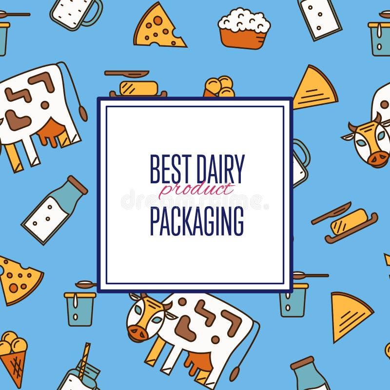 Καλύτερο άνευ ραφής σχέδιο γαλακτοκομικών προϊόντων διανυσματική απεικόνιση