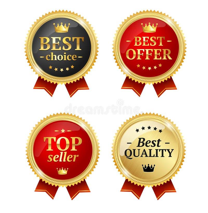 Καλύτερο σύνολο μεταλλίων ετικετών πώλησης προσφοράς ή επιλογής διάνυσμα ελεύθερη απεικόνιση δικαιώματος
