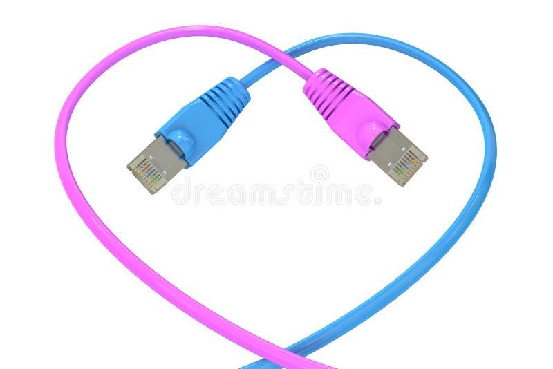 Καλώδια δικτύων υπολογιστών στην καρδιά-διαμορφωμένη, τρισδιάστατη απόδοση διανυσματική απεικόνιση