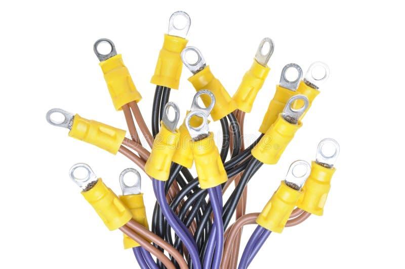Καλώδια με τα τερματικά που χρησιμοποιούνται στο ηλεκτρικό σύστημα καλωδίωσης στοκ φωτογραφία