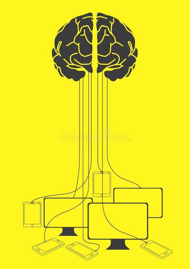 Καλώδιο εγκεφάλου που συνδέεται με τις ηλεκτρονικές συσκευές ελεύθερη απεικόνιση δικαιώματος