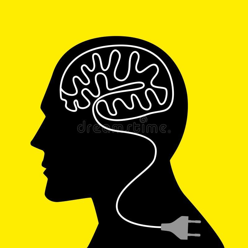 Καλώδιο τροφοδοσίας εκείνη η διαμόρφωση ένας ανθρώπινος εγκέφαλος απεικόνιση αποθεμάτων
