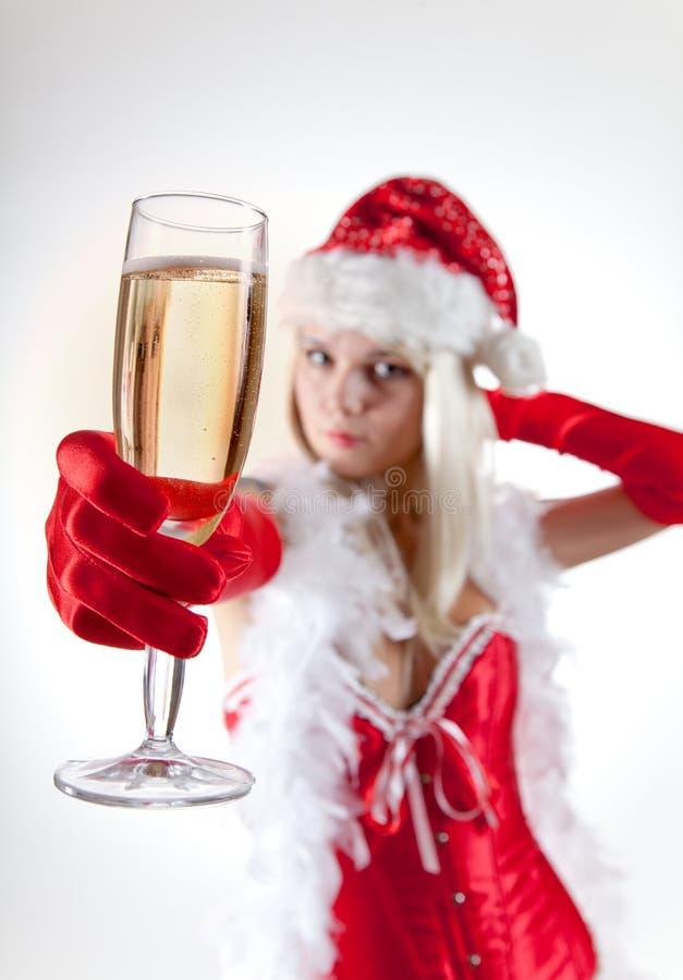 Κα Santa με το γυαλί σαμπάνιας στοκ φωτογραφία