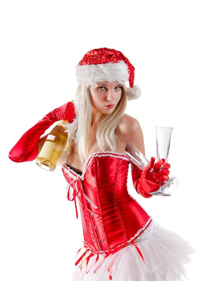 Κα Santa με το μπουκάλι σαμπάνιας στοκ εικόνες