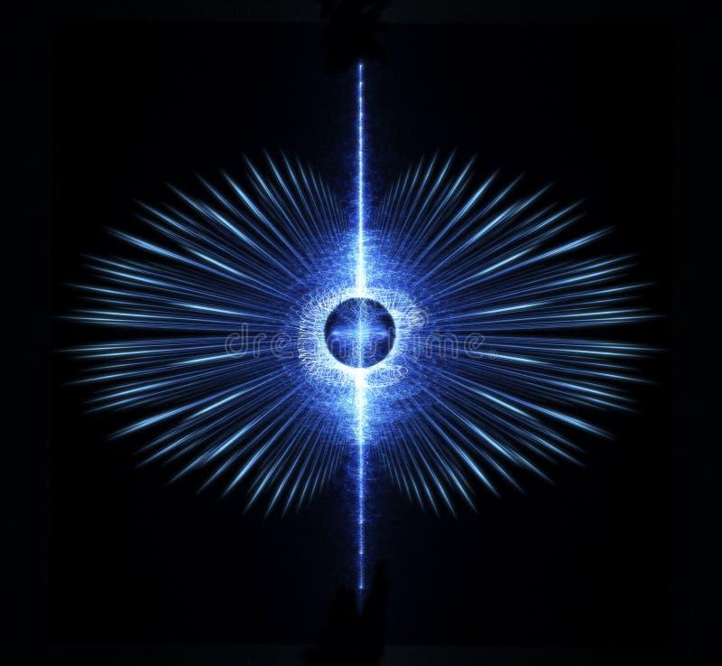 Κβάζαρ με το μαγνητικό πεδίο περίπου και τα αεριωθούμενα αεροπλάνα των υψηλής ενέργειας μορίων από τον Πολωνό διανυσματική απεικόνιση