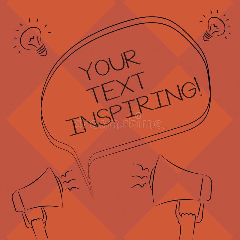 Κείμενο γραφής η έμπνευση κειμένων σας Η έννοια που σημαίνει τις λέξεις σας κάνει τη διέγερση αίσθησης και έντονα ενθουσιώδη ελεύ διανυσματική απεικόνιση