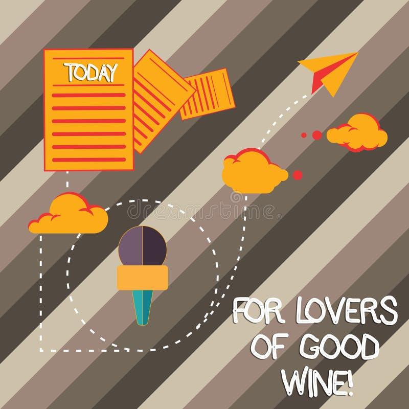 Κείμενο γραφής που γράφει για τους εραστές του καλού κρασιού Έννοια που σημαίνει προσφέροντας ένα γούστο των μεγάλων πληροφοριών  στοκ εικόνες