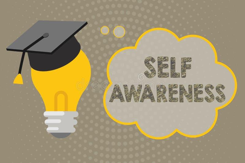 Κείμενο γραφής που γράφει την αυτοσεινηδητοποίηση Έννοια που σημαίνει τη συνείδηση ενός προσώπου προς μια κατάσταση ή να συμβεί διανυσματική απεικόνιση