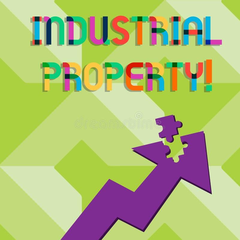Κείμενο γραφής που γράφει τη βιομηχανική ιδιοκτησία Έννοια που σημαίνει την άυλη ιδιοκτησία ενός εμπορικού σήματος ή ενός διπλώμα διανυσματική απεικόνιση