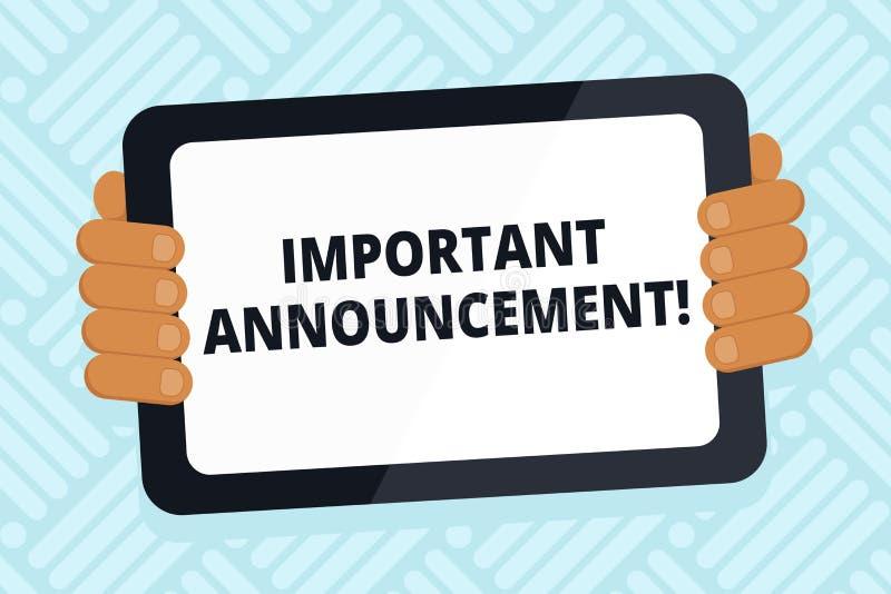 Κείμενο γραφής που γράφει τη σημαντική ανακοίνωση Έννοια που σημαίνει το σημαντικό δημόσιο χρώμα ανακοίνωσης ή δήλωσης Α ελεύθερη απεικόνιση δικαιώματος